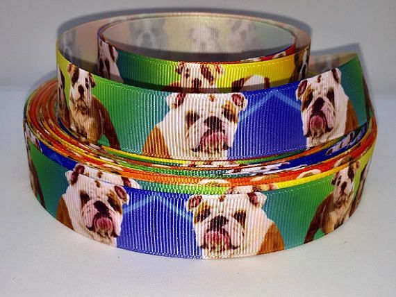 "Grosgrain French Bull Dog Breed Ribbon 1/"" 25mm"
