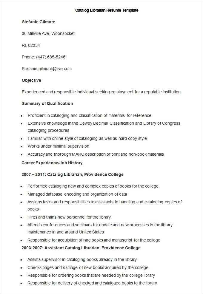 Sample Catalog Librarian Resume Template How To Make A Good Teacher Resume Template There Are Ma Teacher Resume Template Teacher Resume Job Resume Examples