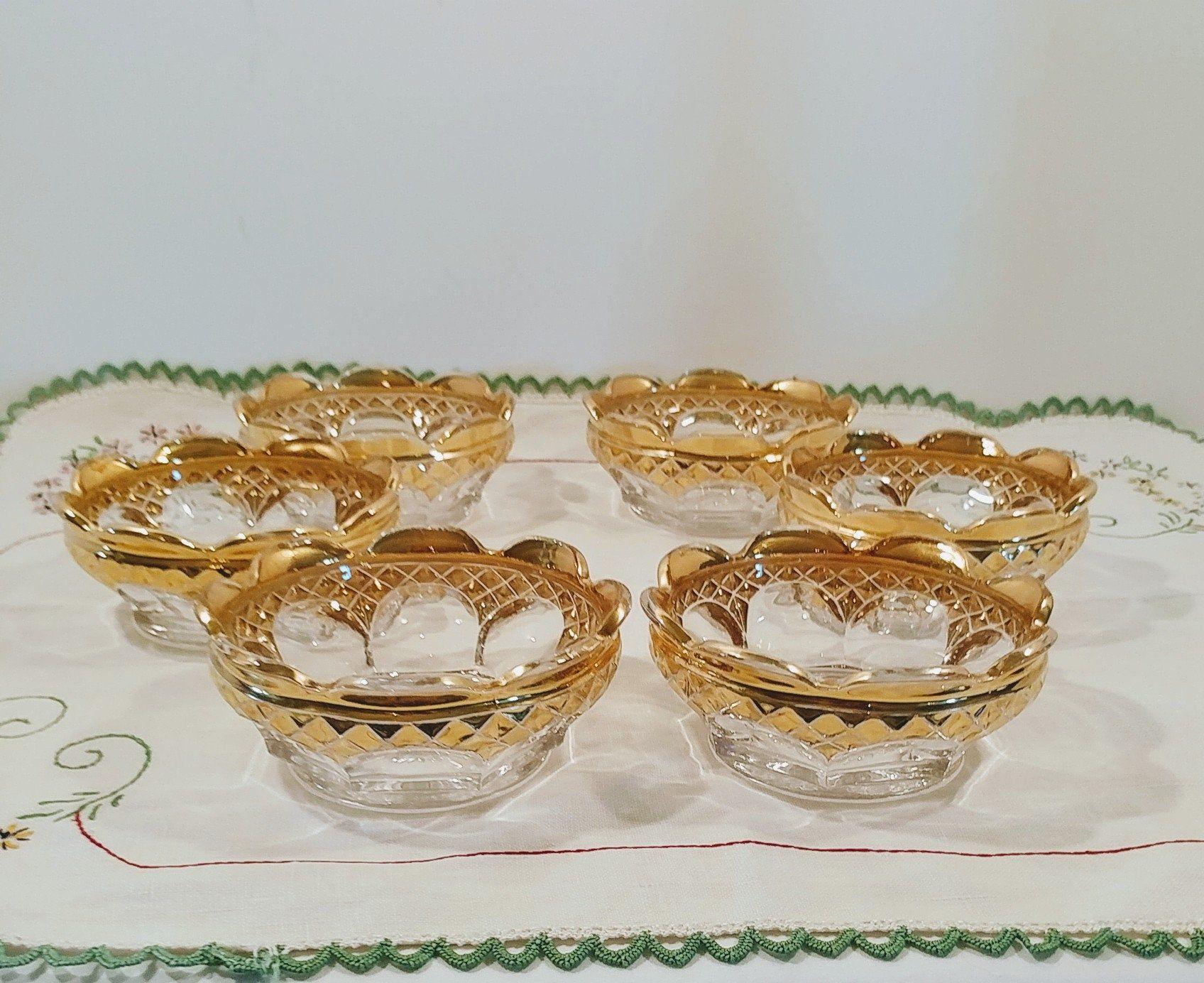Vintage Eapg Gold Rimmed Dessert Fruit