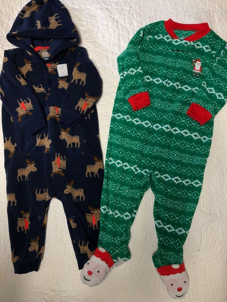 117db6e41959 Carter s baby boy sleepers size 12 months fleece pajamas!  fashion ...