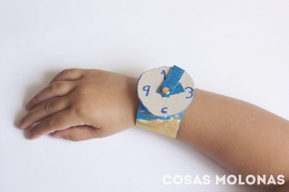 Manualidades para ni os reloj de pulsera con cart n - Manualidades relojes infantiles ...