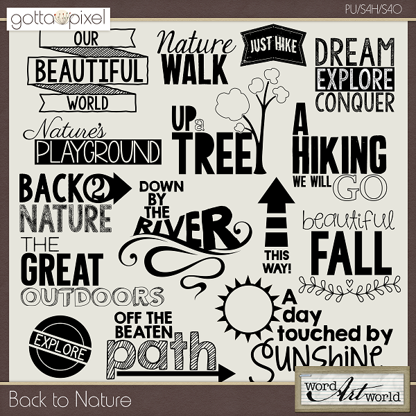 Back To Nature Quotes: Back To Nature Digital Scrapbook Word Art At Gotta Pixel