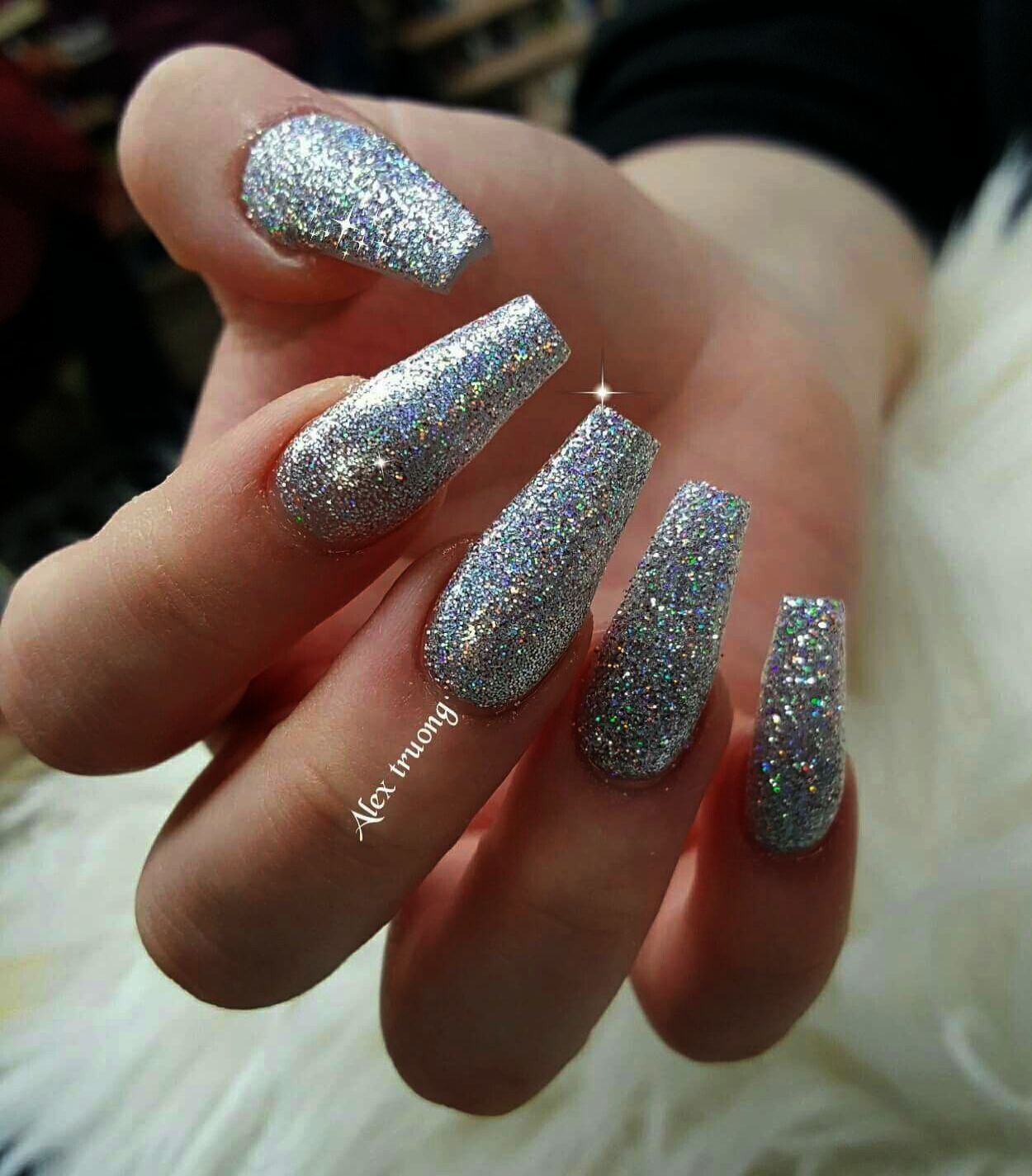 Home Blend Of Bites Silver Sparkly Nails Silver Acrylic Nails Silver Nails