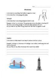 English worksheet: Grade 3 Science Structures | HSP ELL | Pinterest ...