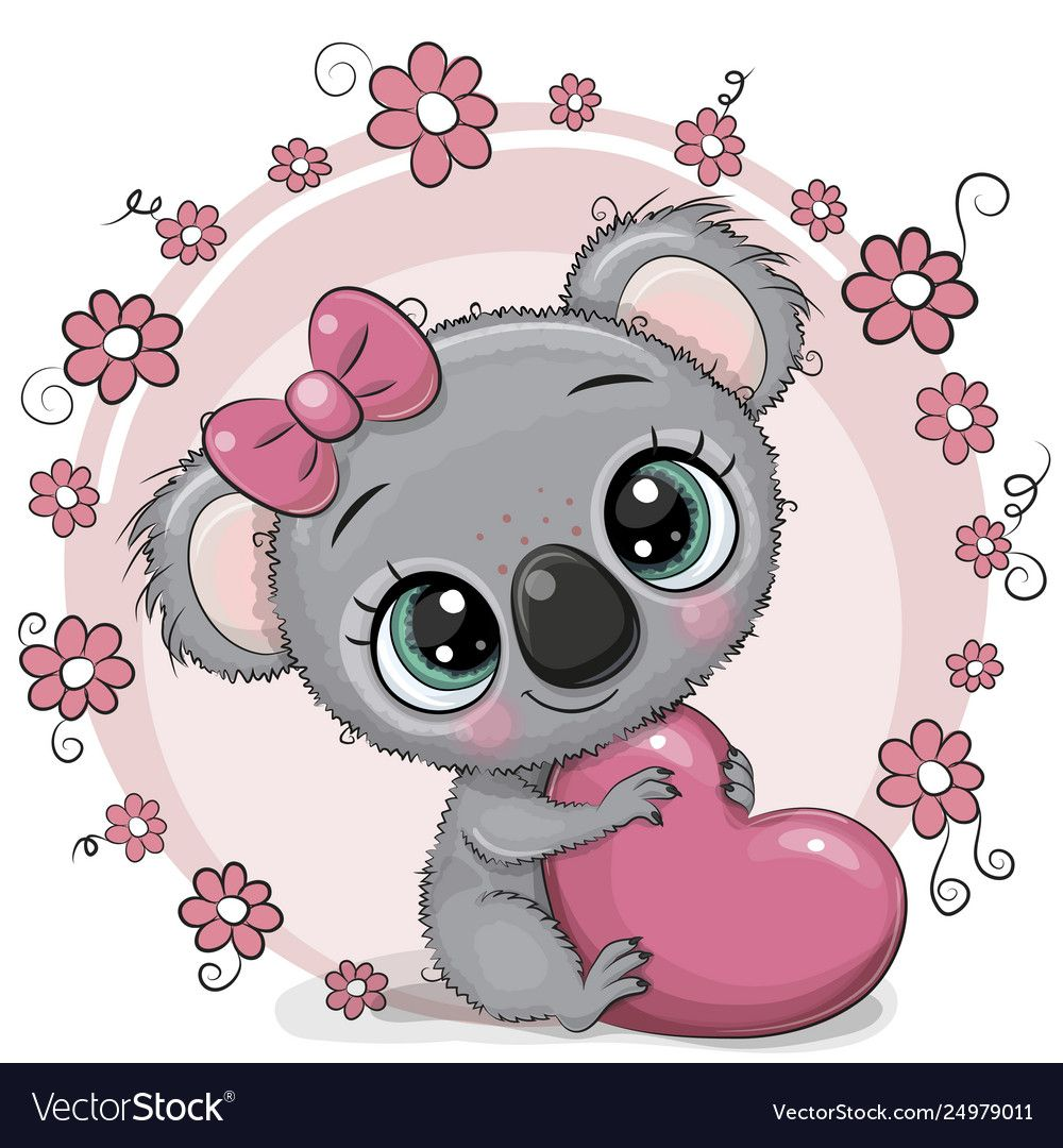 Cute cartoon koala with heart vector image on Koala