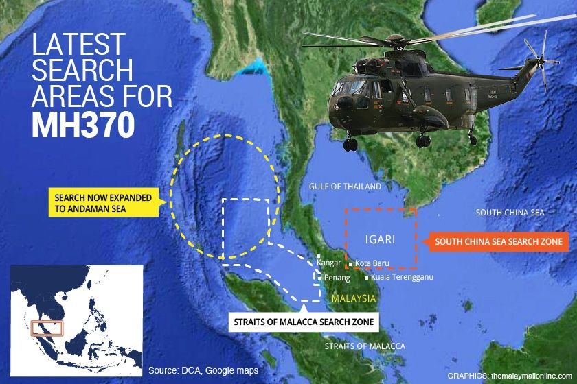 Map Latest Search Areas For Malaysian Missing Flight Mh370