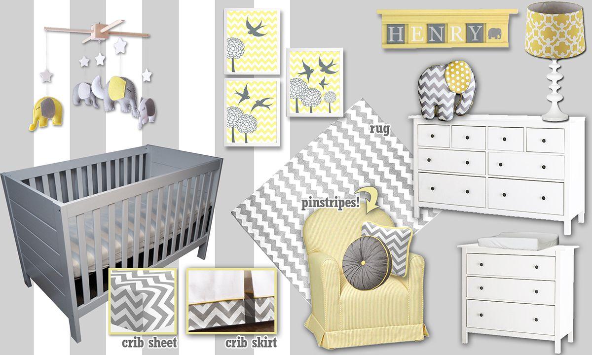 Gray Yellow White Nursery Styleboard