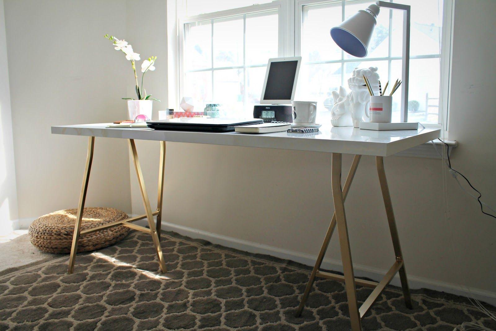 Burlap Lace Ikea Hack My Office Desk 55 Ikea Office Table Ikea Office Furniture Ikea Table Tops
