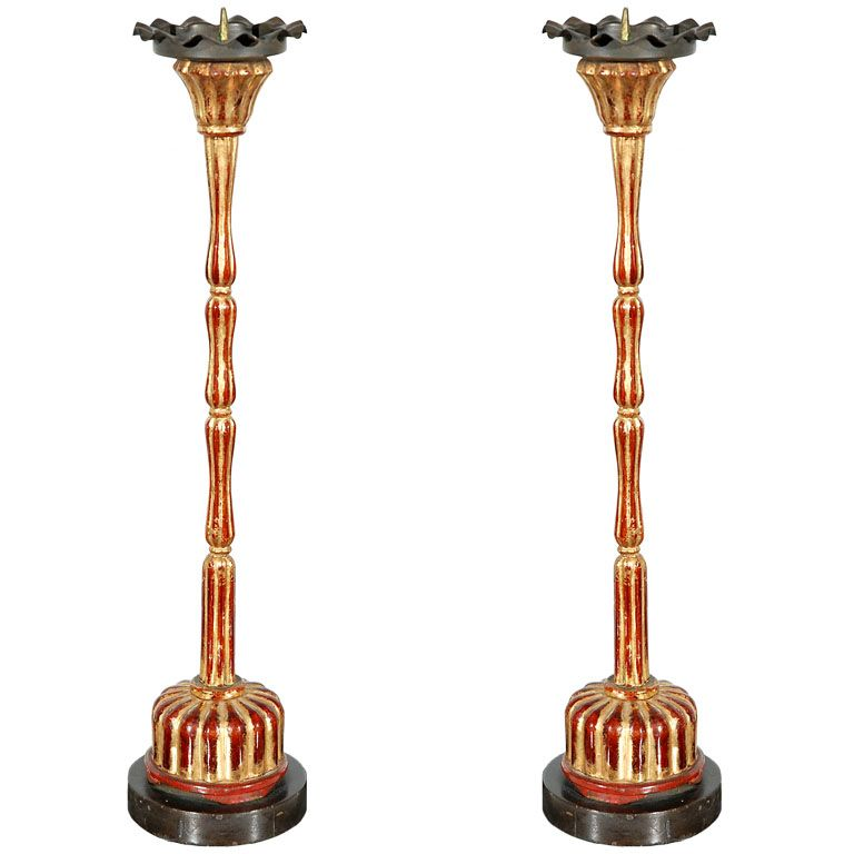 Pr Antique Japanese Lacquered Candlesticks