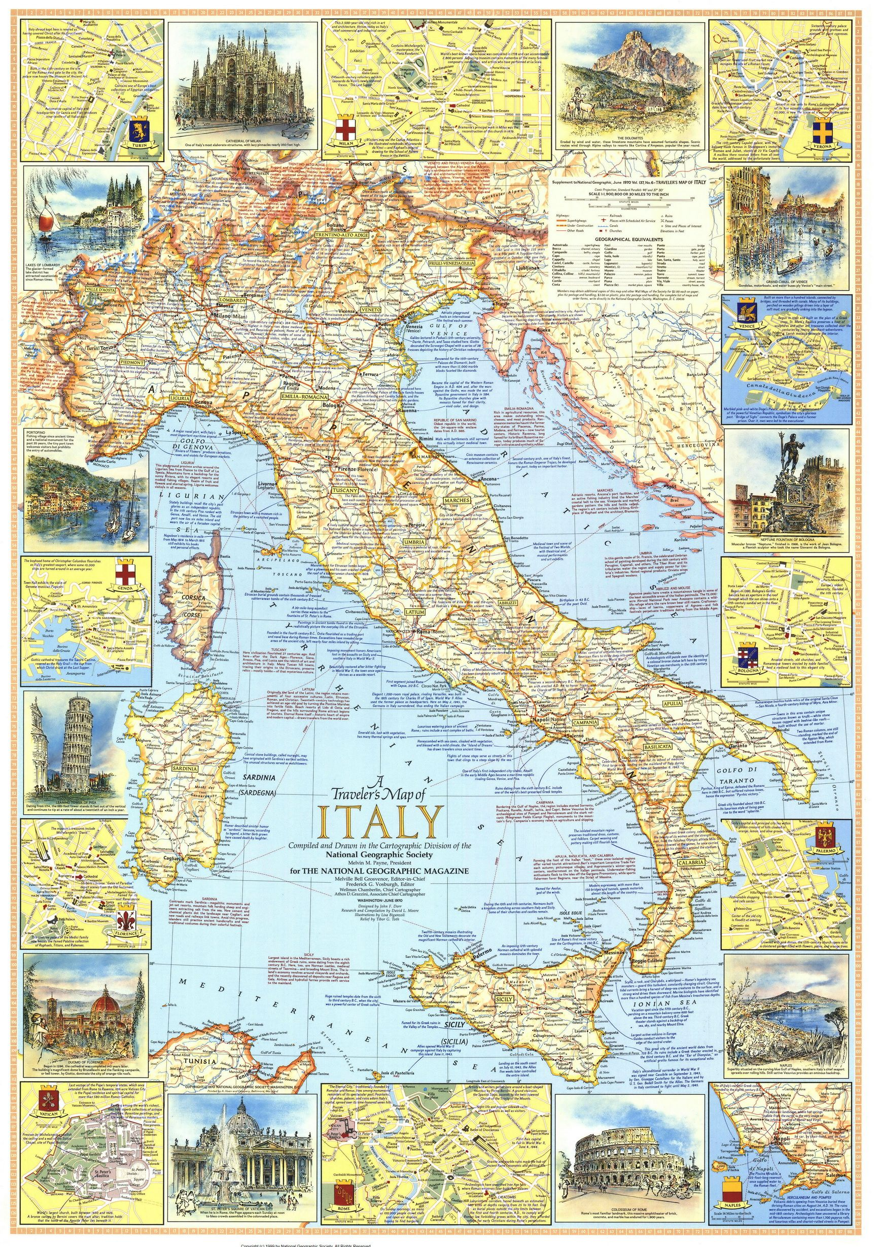 Italy A Traveller S Map 1970 Italy Wall Art National Geographic Maps Map Of Italy Regions