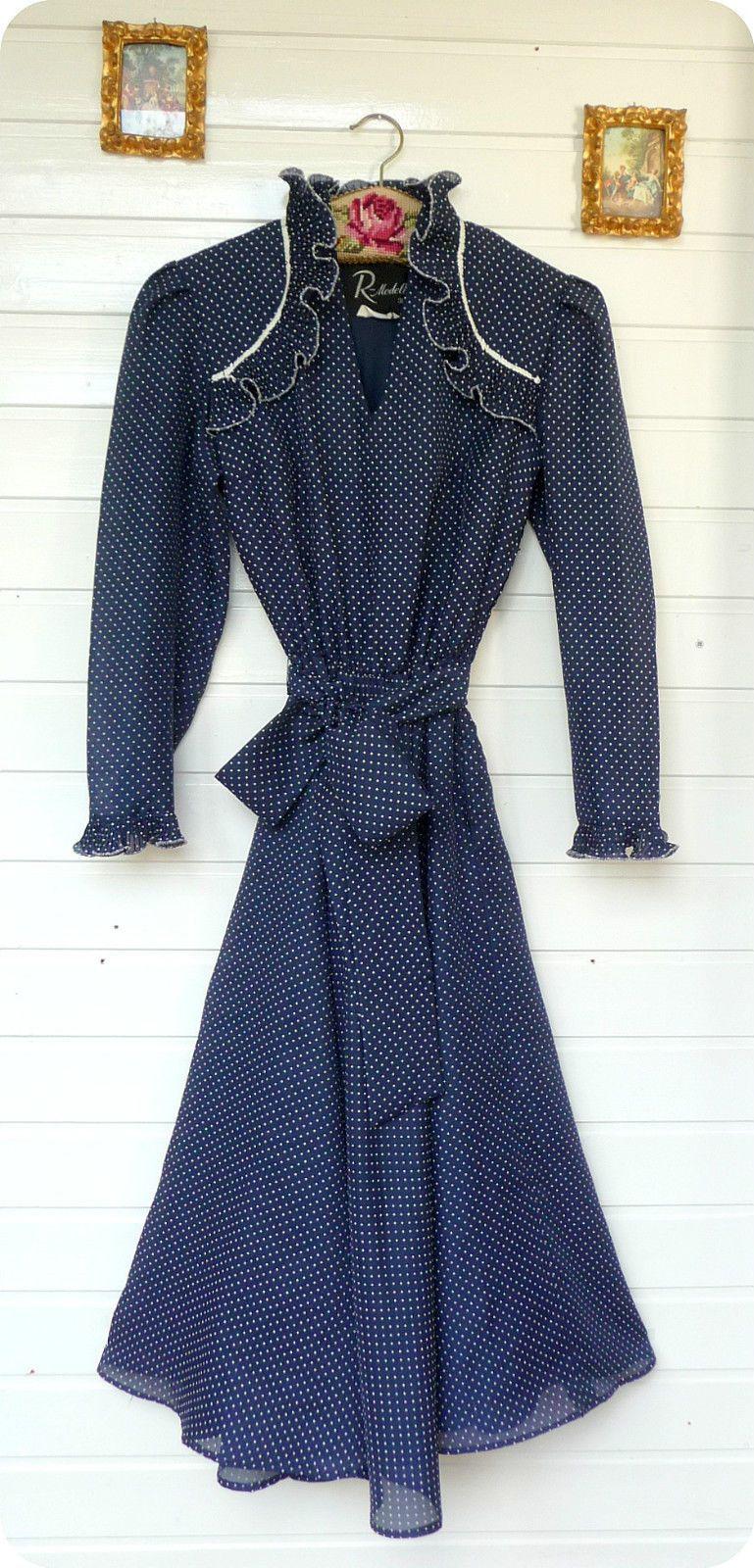 Vintage Traum R. MODELLE Kleid 38 M Dress Pin Up Polka Dots Tanzkleid Bombshell in Kleidung & Accessoires, Vintage-Mode, Vintage-Mode für Damen | eBay
