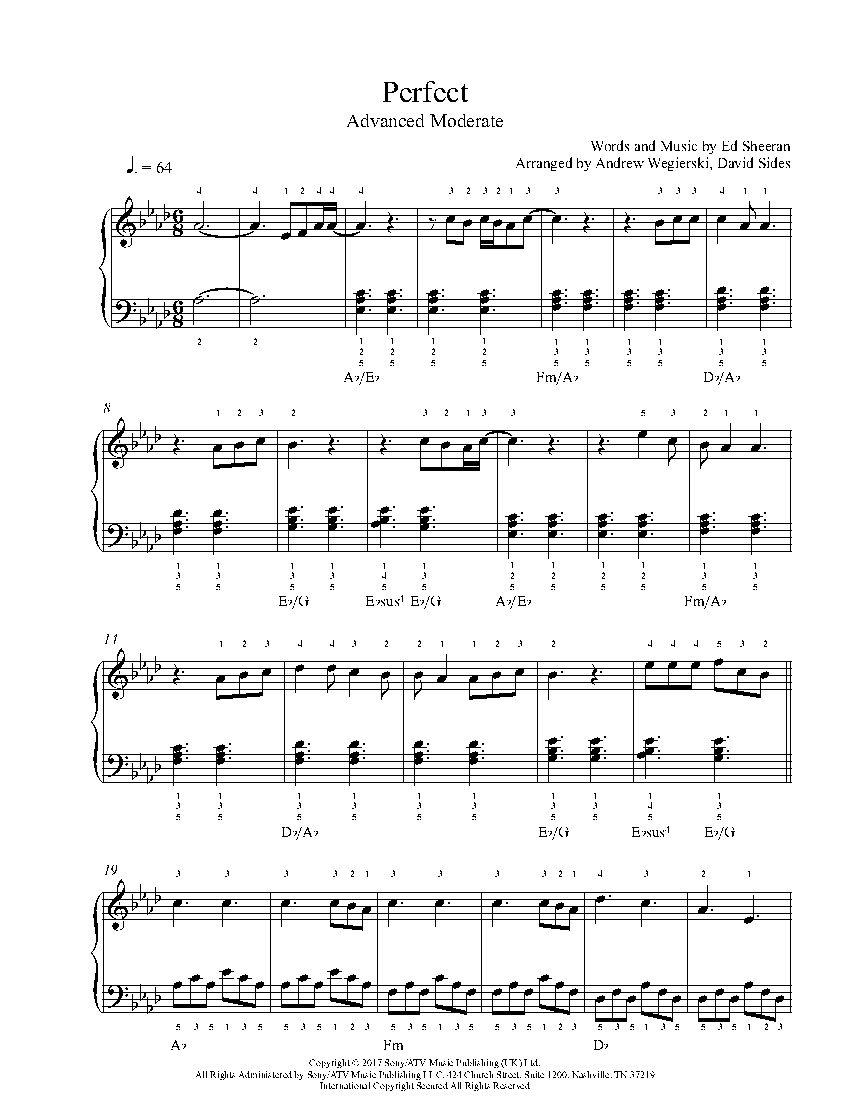 Perfect By Ed Sheeran Piano Sheet Music Advanced Level