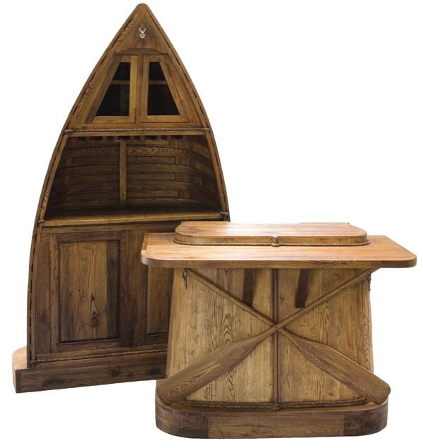Reclaimed Furniture, Ski Pub Stools, Row Boat Bar, Sleigh Coffee Table,  Toboggan