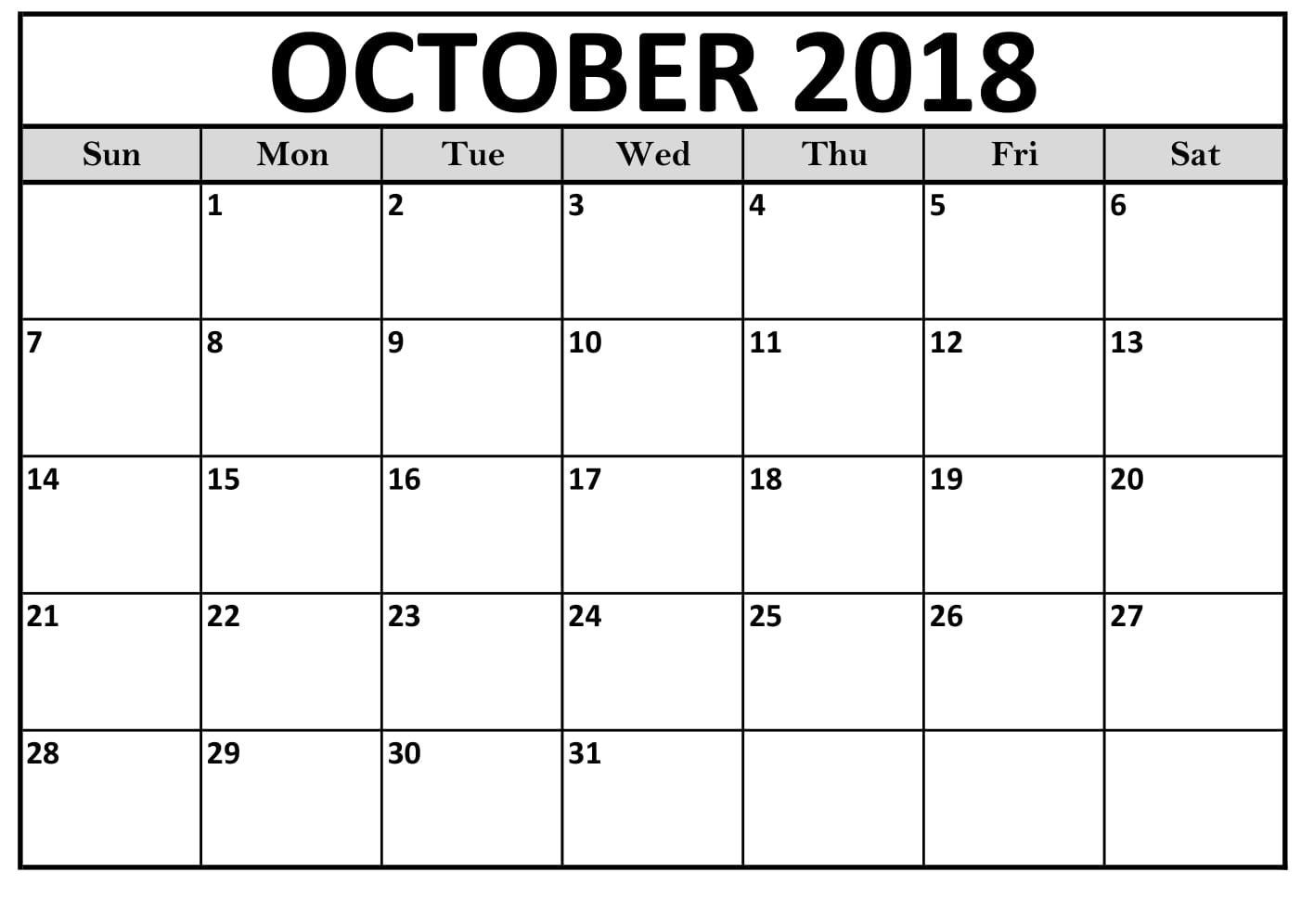 Free Printable Calendar October Blank Worksheet