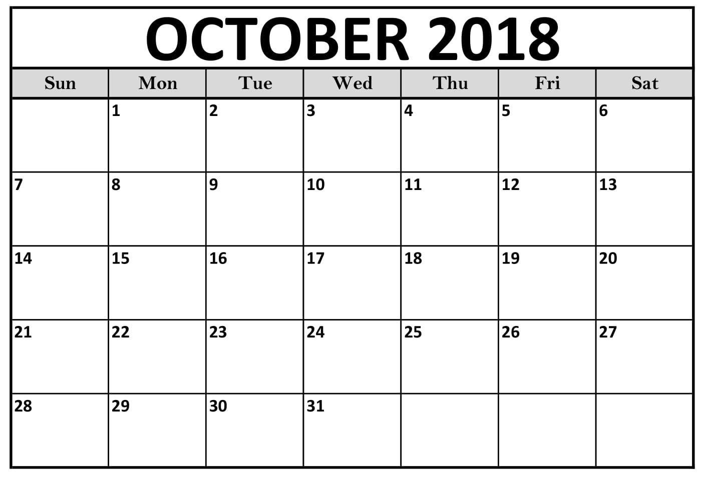 Free Printable Calendar October Blank Worksheet
