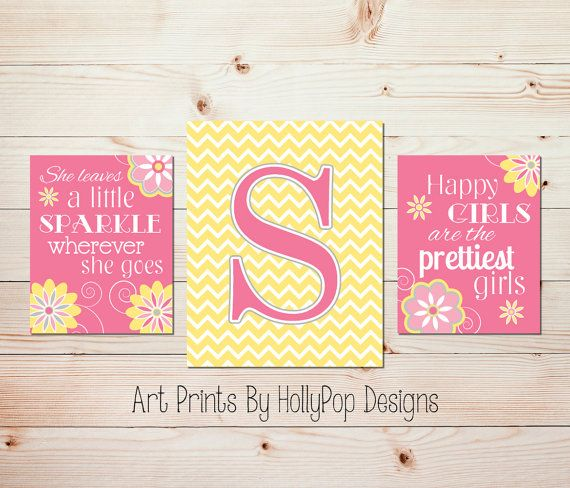 Pink Yellow Nursery Wall Art - She Leaves a Little Sparkle - Girls ...