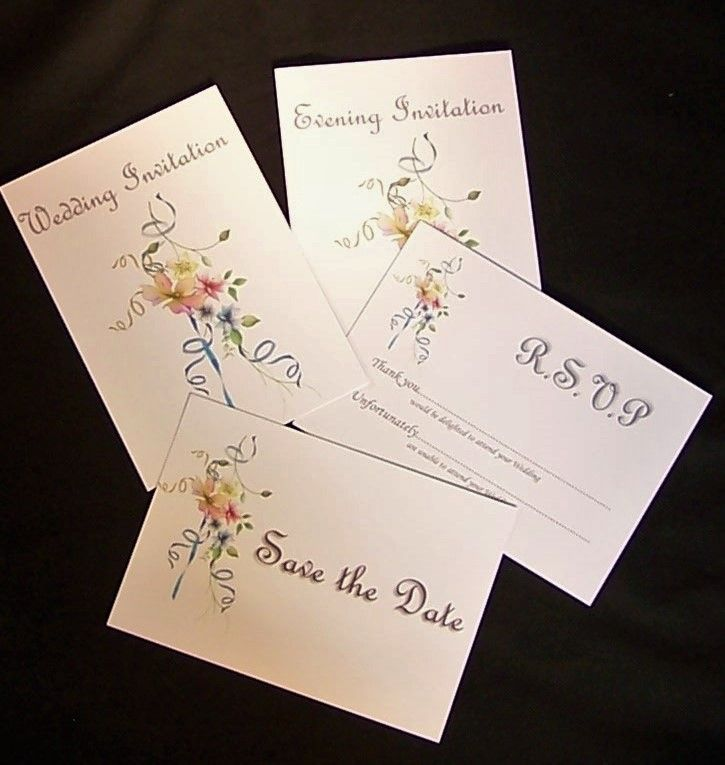 Cheap DIY non personalised wedding invitation sets printed on A6 ...