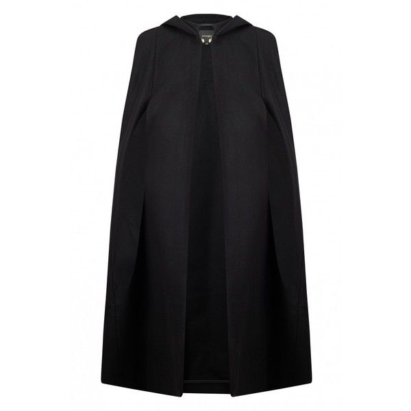 Ginette Virgin Long Wool Cape (7,175 MXN) ❤ liked on Polyvore featuring outerwear, cape coat, hooded cape, poncho cape coat, long cape and woolen poncho