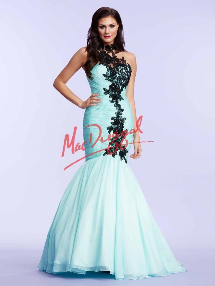 Aqua Prom Dress | Black Lace Mermaid Dress | Mac Duggal 65089M | Mac ...