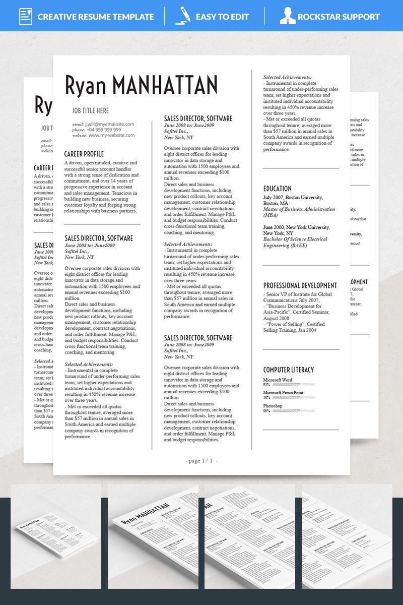 Manhattan Resume Template 69179 Resume template, Resume