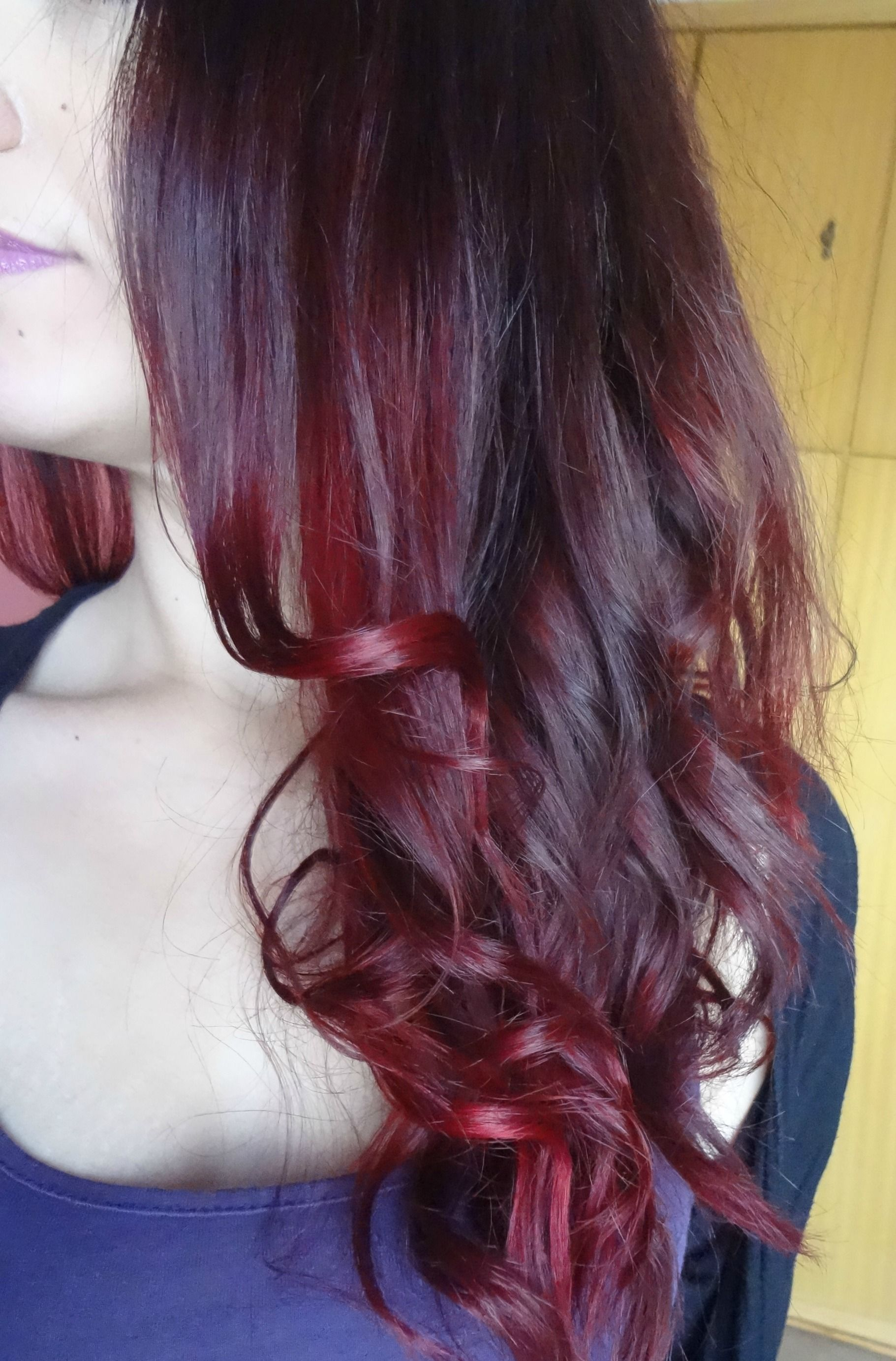 Dark Brown Violet Burgundy Red Ombre Hair I Made A