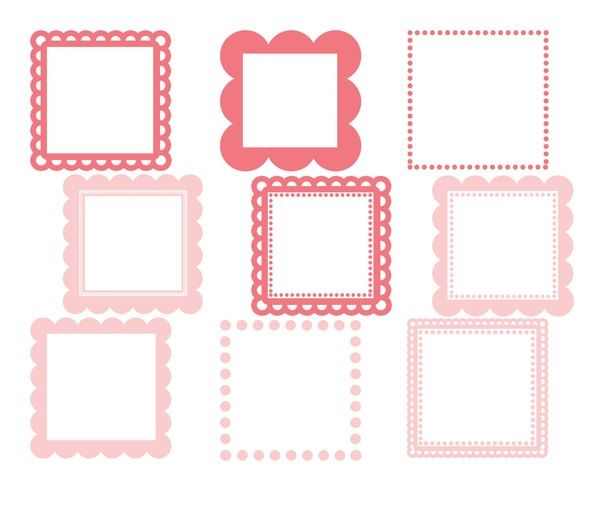 Items Similar To Scalloped Square Frames Baby Pink