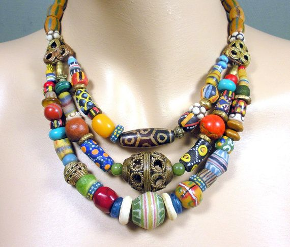 3 strand African necklace, trade beads, lost wax brass ...