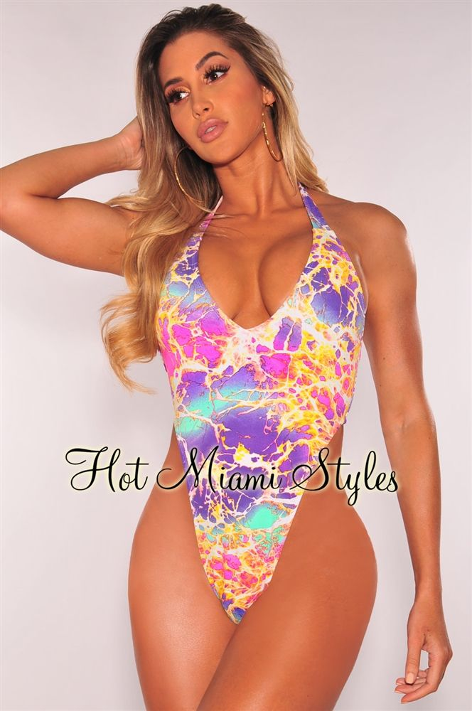 db2cd3aaf89 Candy Icebreak Ultra High Cut Halter Belted Swimsuit | Fashion ...