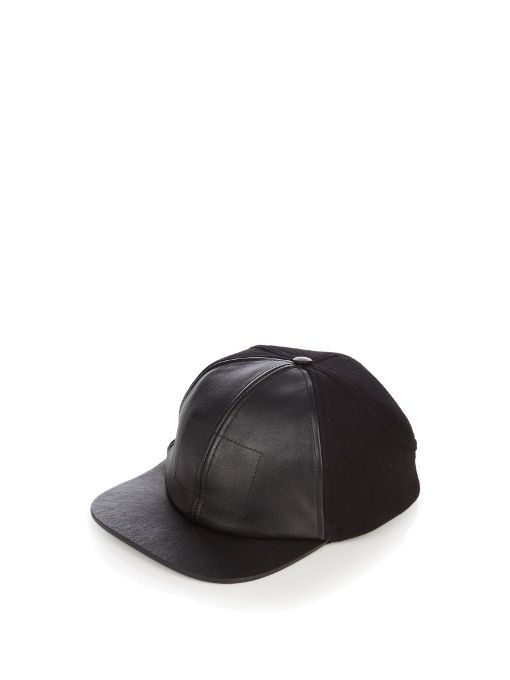 611bd66e80a BALENCIAGA Leather-visor wool-blend baseball cap.  balenciaga  cap ...