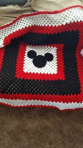 Crochet mickey mouse granny square blanket | Pinterest