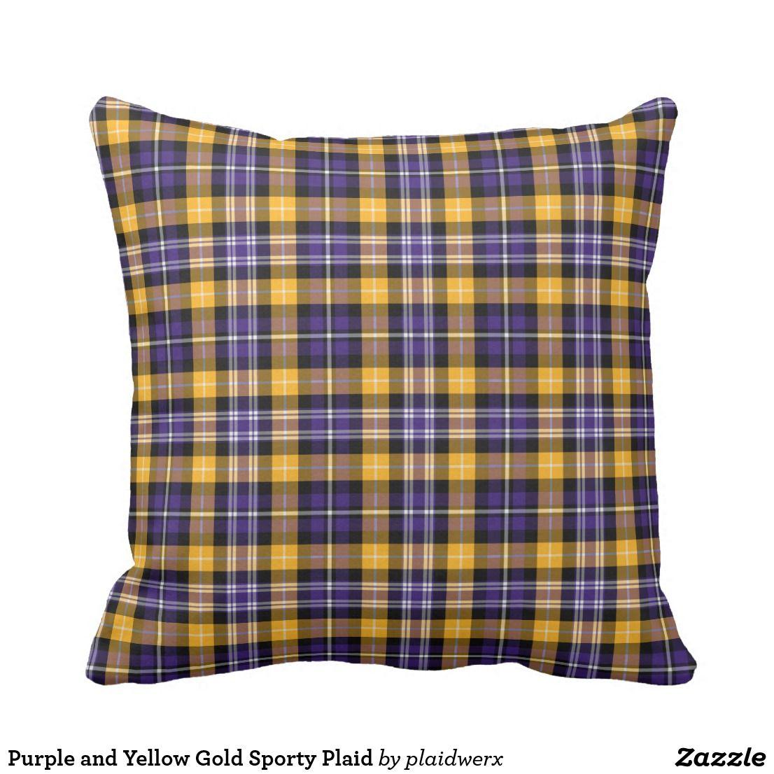 Purple And Yellow Gold Sporty Plaid Throw Pillow A Plaidwerx Original Tartan Design With Por School Colors Schoolcolors