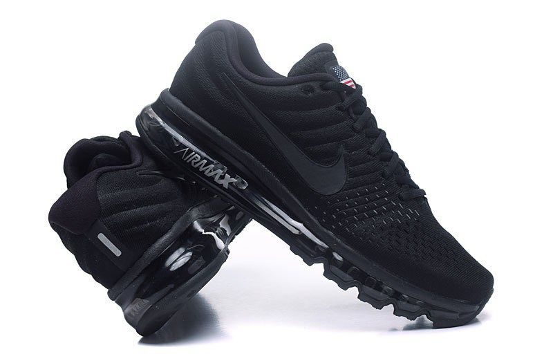 on sale 6139b 302fb Nike Air Max 2017 Men Mesh All Black