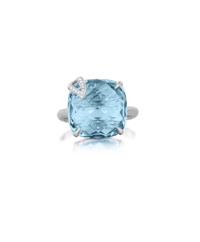 Blue Topaz Cushion And Diamond Pave Single Leaf Signature Ring Signature Rings Girls Jewelry Box Blue Topaz