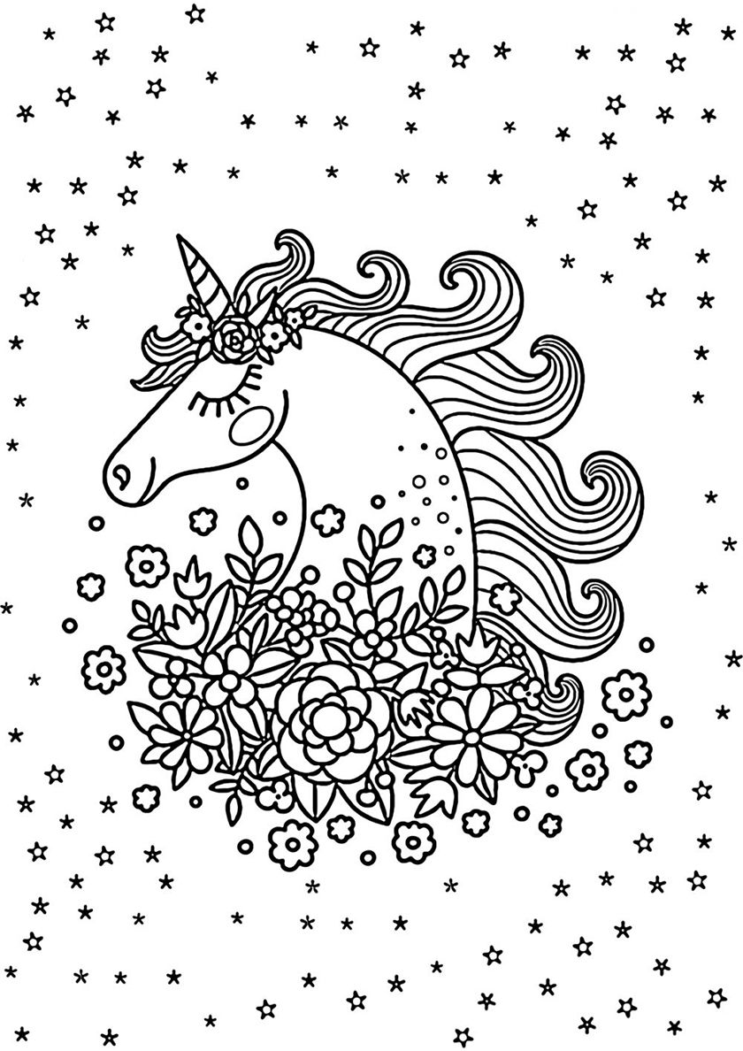 Surrounded by Flowers Unicorn coloring pages, Love