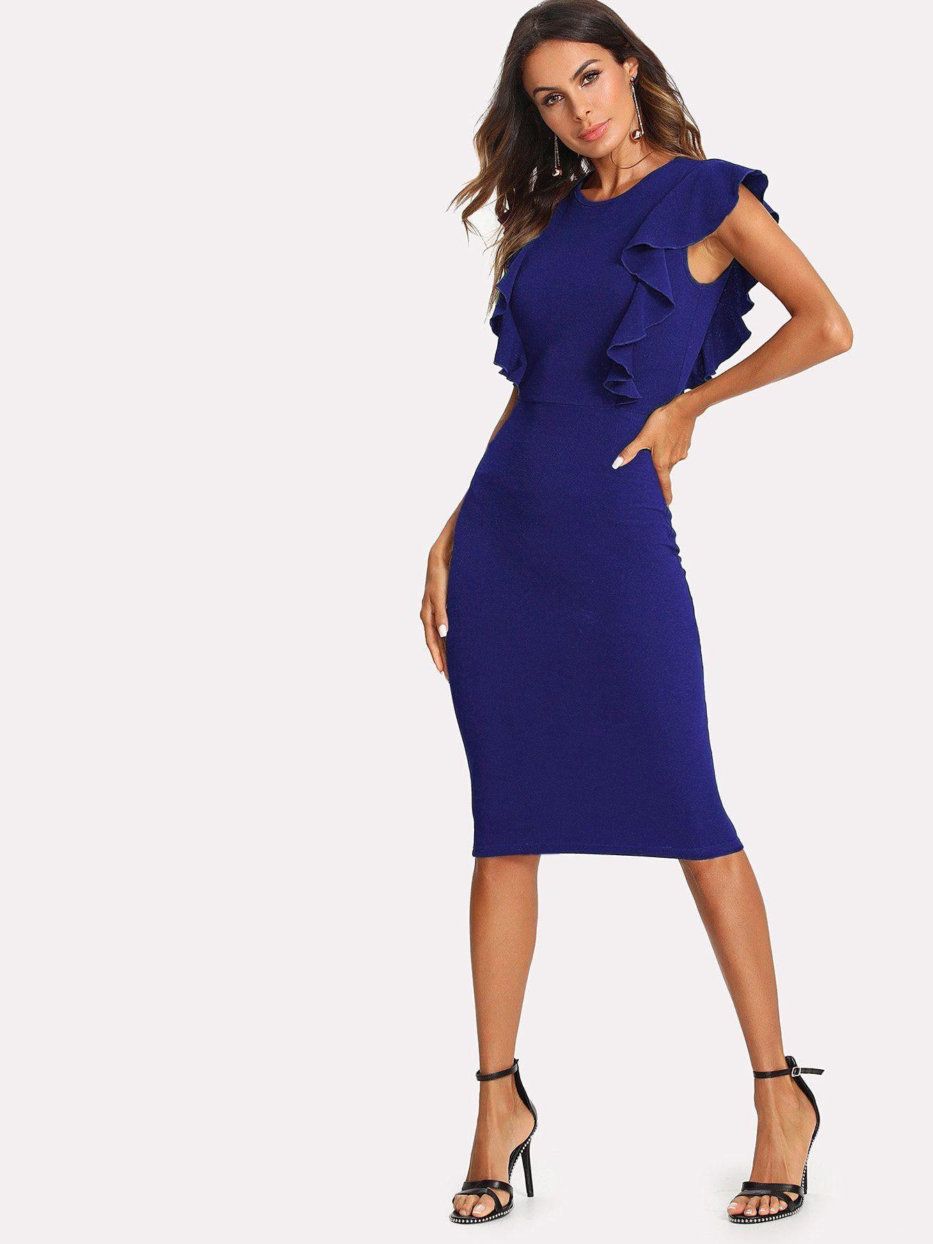 d884e84786 Elegant Pencil Ruffle and Zipper Plain Bodycon Round Neck Cap Sleeve  Butterfly Sleeve Natural Blue Knee Length Ruffle Trim Form Fitting Dress