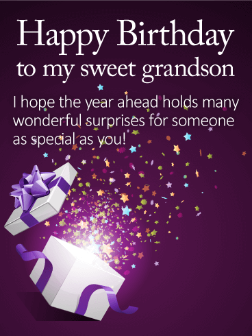To my sweet grandson happy birthday wishes card theres something to my sweet grandson happy birthday wishes card theres something so magical about this birthday card maybe its the trail of colorful stars bursting m4hsunfo