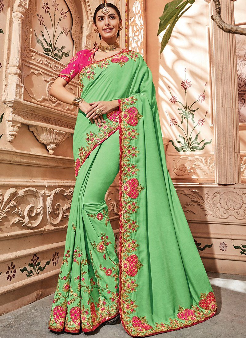 8ec1b11fcba6d Pink and Light Green Silk Satin Saree in 2019
