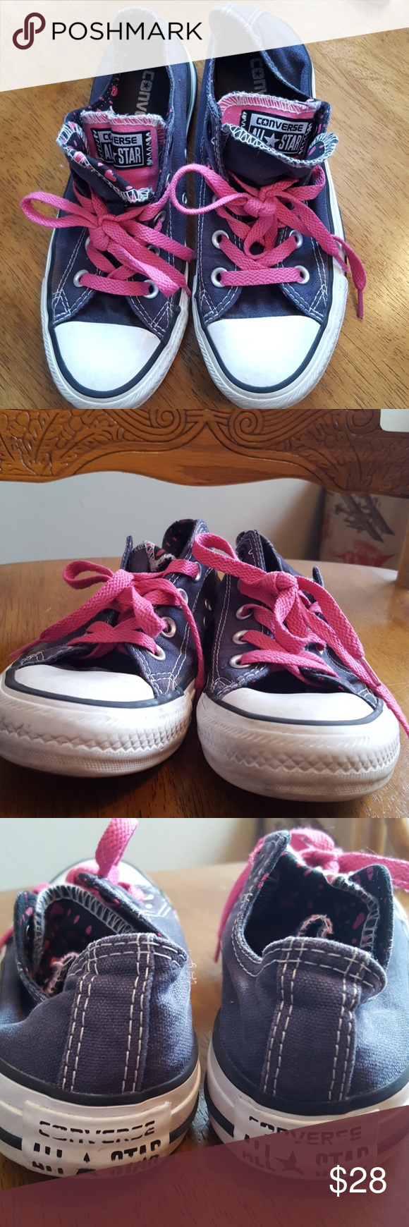 Converse All Stars Double tongue Navy,Pink & Blk Converse