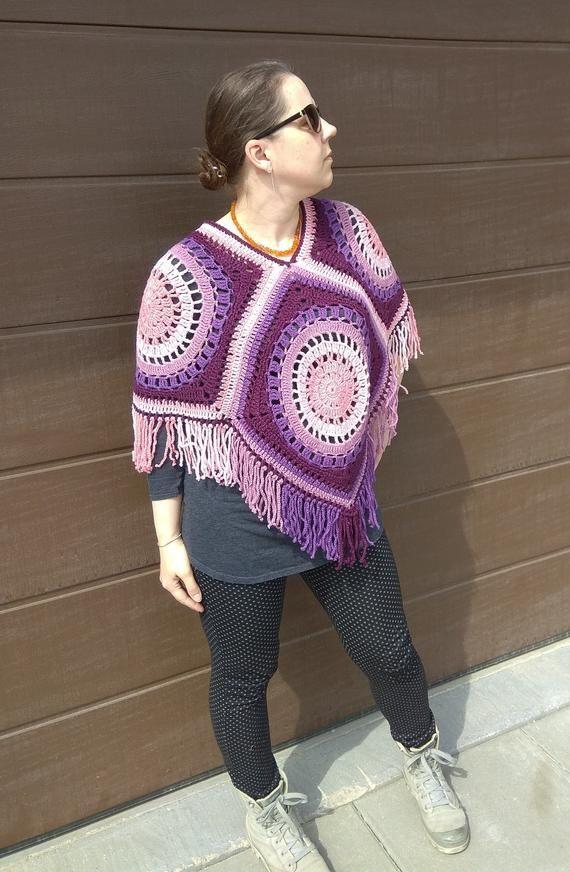Purple wool poncho Women crochet wrap Hippie poncho Purple pink granny squares poncho Boho style women wrap Pure wool gift for women