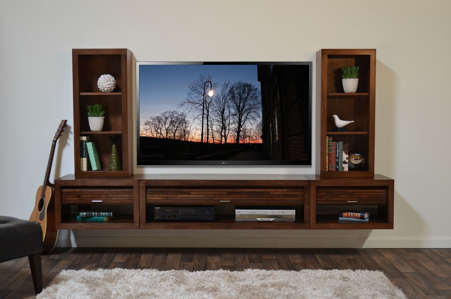 Merveilleux Wall Mounted Floating TV Entertainment Stand   ECO GEO Mocha