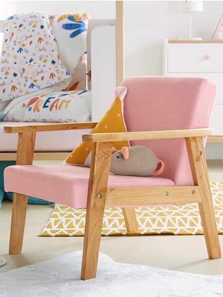 Holz-Sessel für Kinderzimmer, Vintage - GRüN/NATUR+ROSA/NATUR - 8