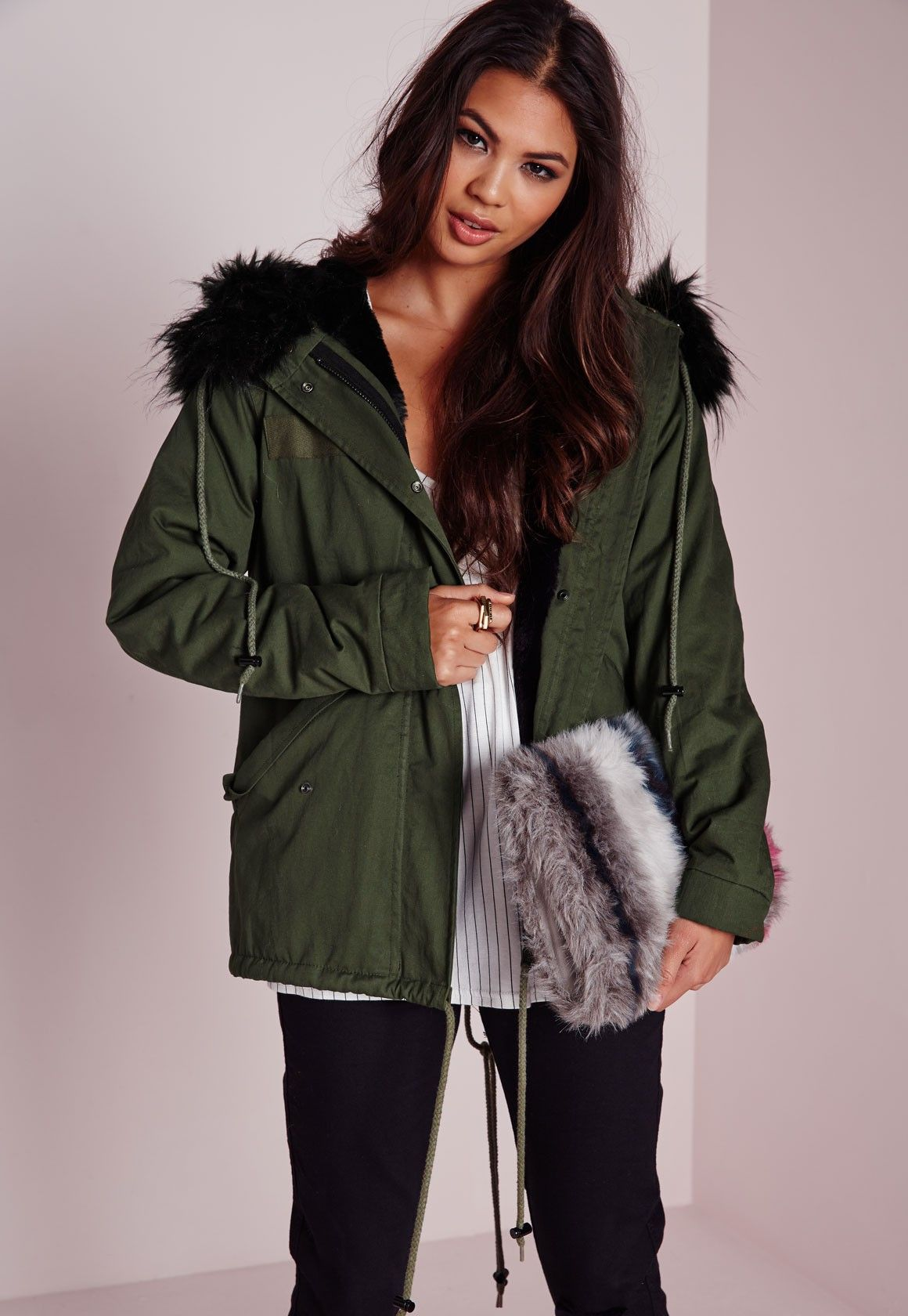 Faux Fur Hood Short Parka Coat Khaki/Black - Coats and Jackets ...