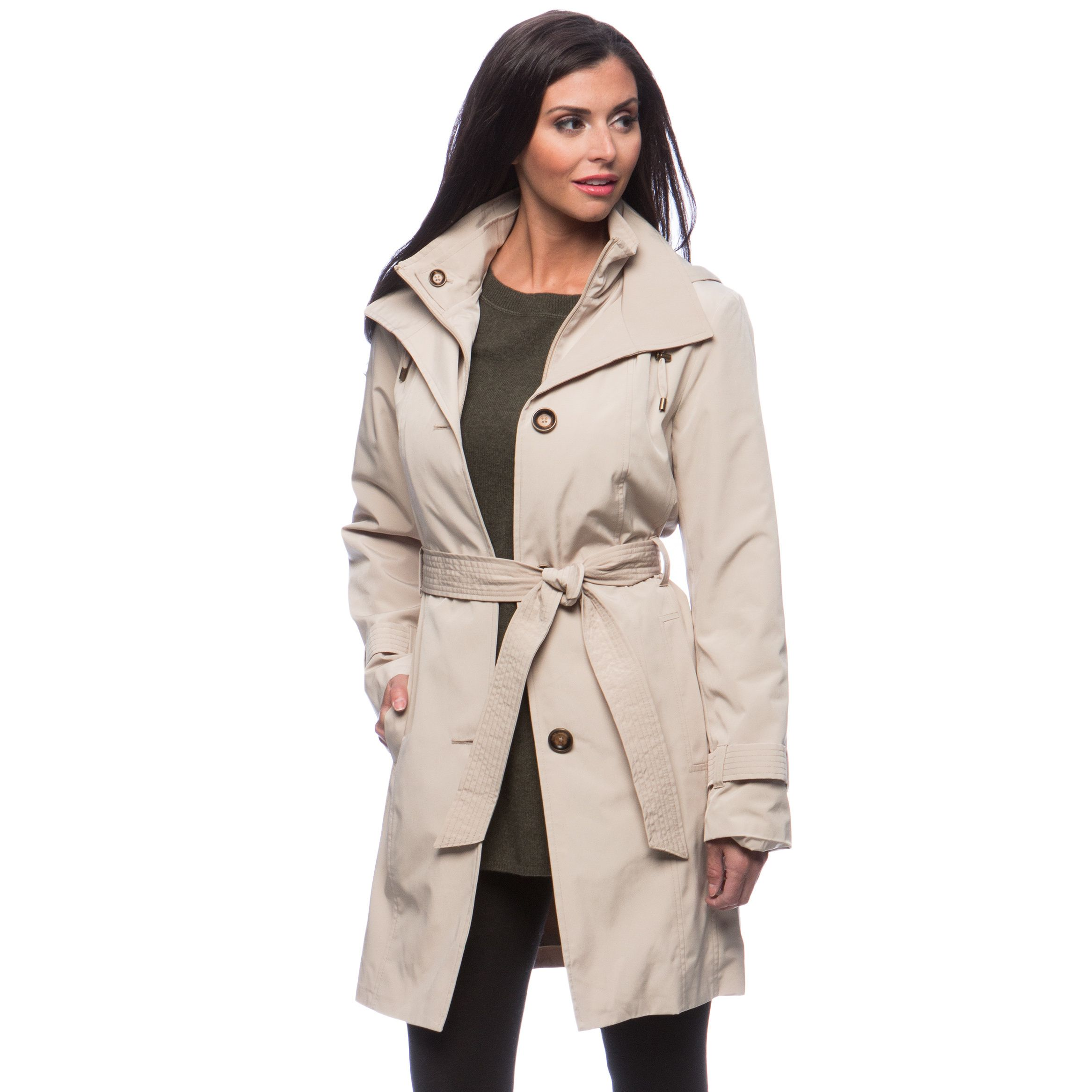 e3415e473 In a stylish natural stone color, this double collar women's coat ...