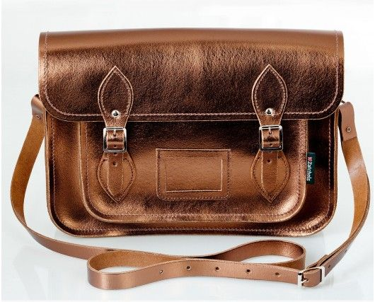 f9f027656 CARTABLE ZATCHELS / BRONZE. Metallic Bronze Leather Satchel Vintage Bags ...