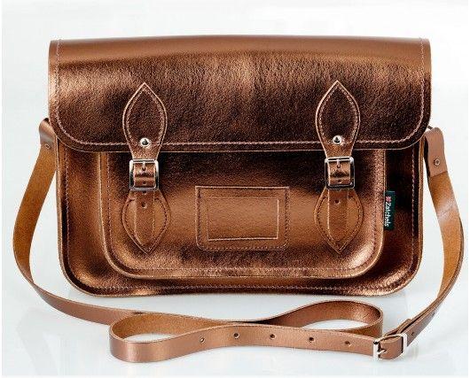 774938aa4f65 CARTABLE ZATCHELS / BRONZE. Metallic Bronze Leather Satchel Vintage Bags ...