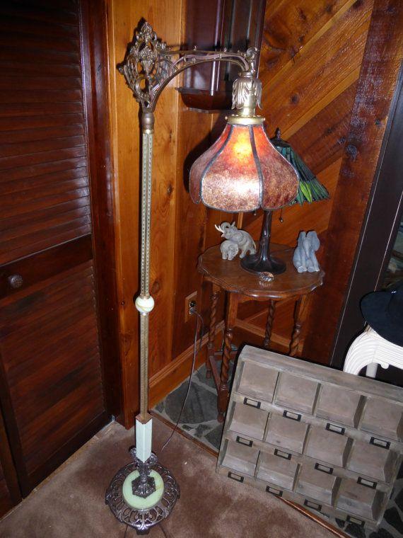 Vintage antique Victorian cast iron bridge floor lamp #5 green ...