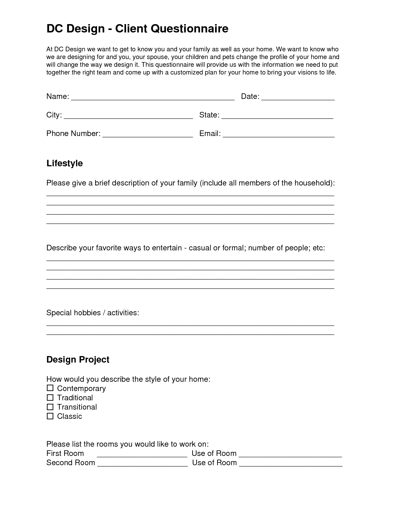 Interior design questionnaire for clients pdf for Office design questionnaire