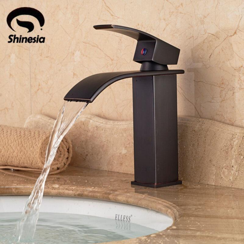 Buy Solid Brass Bathroom Sink Faucet Single Handle Waterfall Spout ...