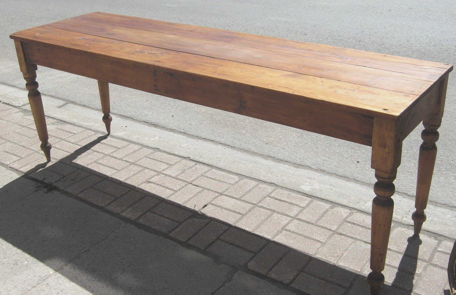 antique narrow dining table long narrow antique pine. Black Bedroom Furniture Sets. Home Design Ideas