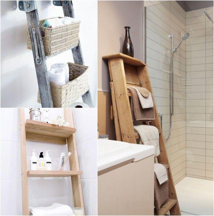 holzleiter im badezimmer zur aufbewahrung der badet cher einrichtungs inspirationen. Black Bedroom Furniture Sets. Home Design Ideas
